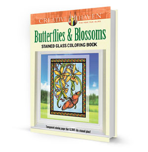Butterflies and Blossoms Stained Glass Coloring Book